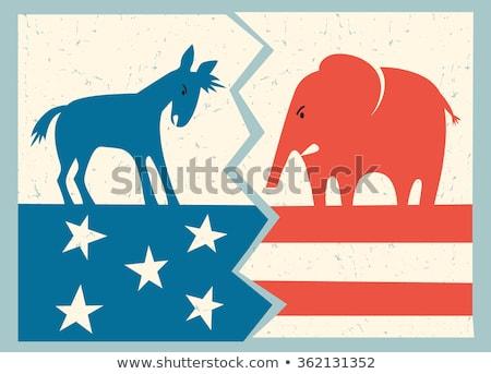 Fil kavga eşek siluet amerikan bayrağı Stok fotoğraf © Krisdog