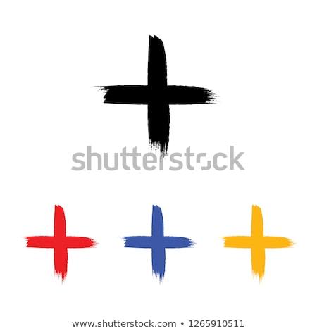 Stock fotó: Kézzel · rajzolt · kereszt · grunge · izolált · fehér · absztrakt