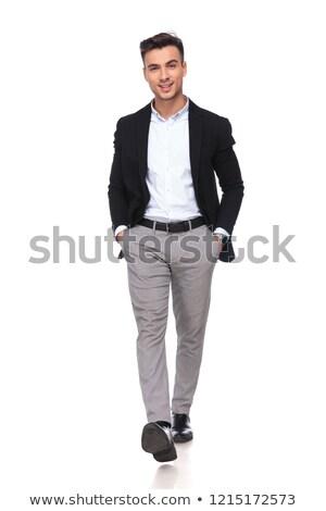 бизнесмен черный костюм вперед белый стороны Сток-фото © feedough
