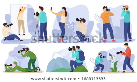 Photographer Freelance Men Taking Pictures, Vector Stock photo © robuart