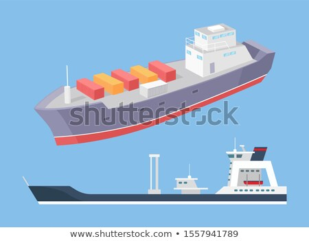 Cargo Ship and Rescue Police Boat Marine Vessels Stock photo © robuart