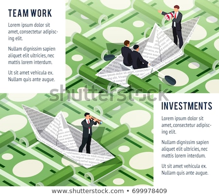 Businessman swims in a sea of money Stock photo © alphaspirit