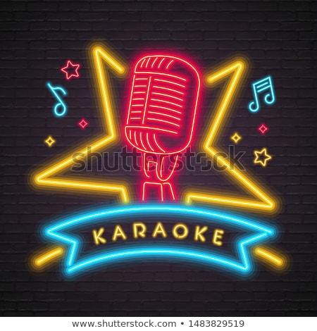 Vintage karaoke zestaw odznaki projektu Zdjęcia stock © netkov1