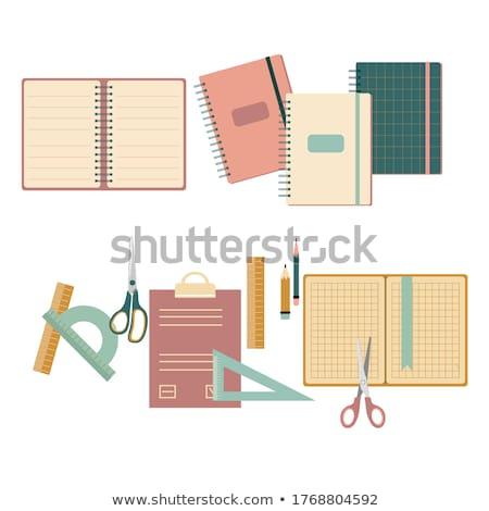 Vetor conjunto estudante artigos de papelaria cara escolas Foto stock © olllikeballoon