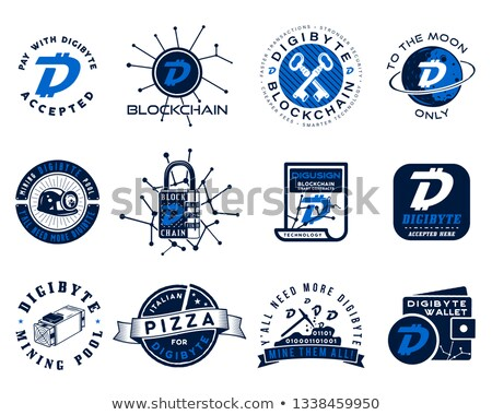 Digibyte logos set. Digital asset concept. Pay with DGB accepted, mining quotes. Crypto emblems. Blo Stock photo © JeksonGraphics