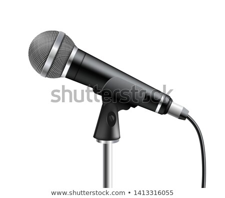 Modern Microphone Vector. Media Stand. Vocal Element. Conference Broadcast. Digital Volume. Illustra Stock photo © pikepicture