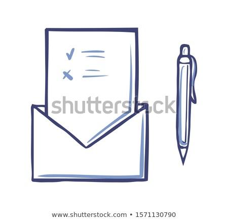 Boríték kinyitott szavazás oldal toll ikon Stock fotó © robuart