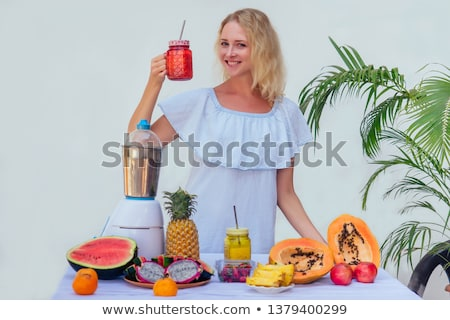 Diet. Healthy Eating Woman Drinking Fresh Raw Green Detox Vegetable Juice. Healthy Lifestyle, Vegeta Stock photo © galitskaya