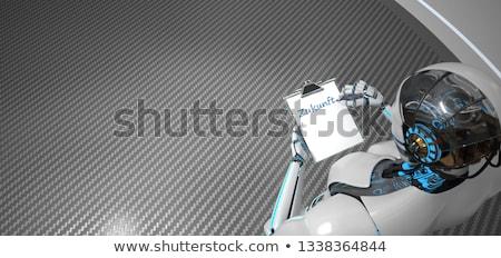 piśmie · humanoid · robot · schowek · tekst · przyszłości - zdjęcia stock © limbi007