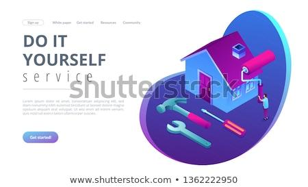 Csináld magad javítás izometrikus 3D leszállás oldal Stock fotó © RAStudio