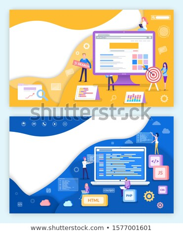 Seo optymalizacja wzrost plakat zestaw plakaty Zdjęcia stock © robuart