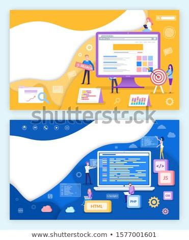 Seo Optimization Increase of Conversion Poster Set Stock photo © robuart