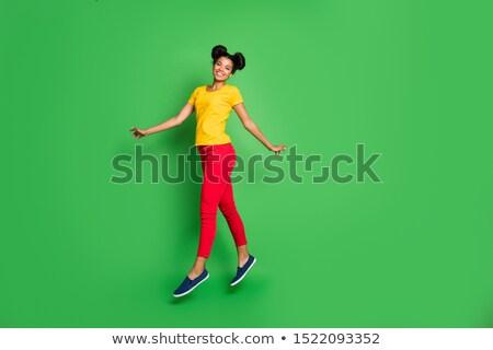 Teljes alakos fotó csinos afro amerikai hölgy Stock fotó © deandrobot