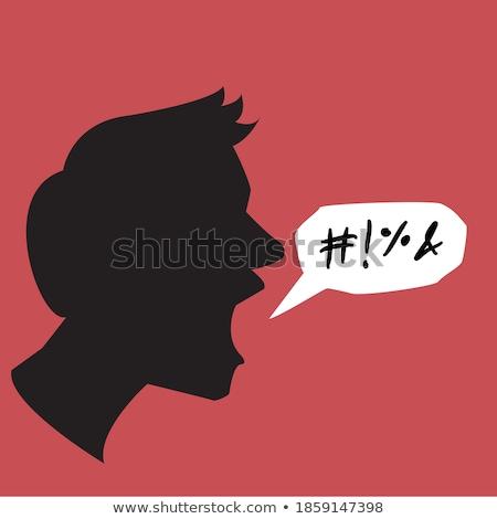 Mérges férfi szöveglufi illusztráció kommunikáció beszéd Stock fotó © colematt