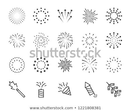 Foto stock: Fogos · de · artifício · festa · fundo · estrela · branco · explosão