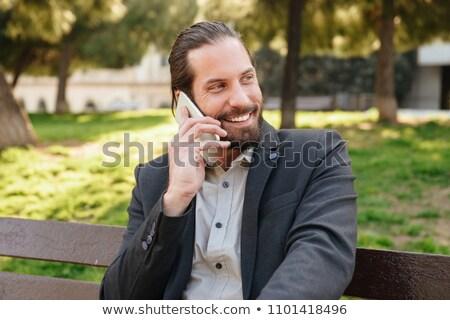 Fotoğraf mutlu sakallı adam 30s resmi Stok fotoğraf © deandrobot