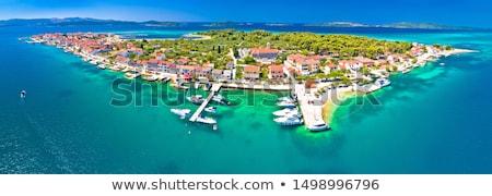 Sziget vízpart kilátás szigetvilág Horvátország ház Stock fotó © xbrchx