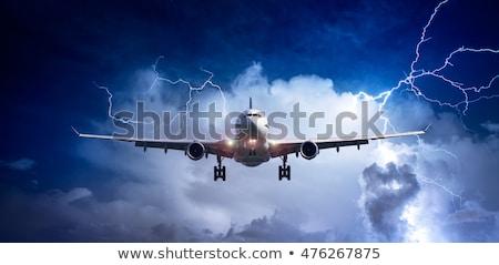 Vliegtuig vliegen slechte weer illustratie landschap achtergrond Stockfoto © bluering