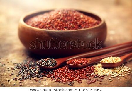 Uncooked quinoa seed grain on white wooden background Stock photo © Melnyk