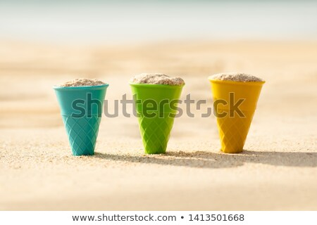 Cones Filled With Sand Dig On Beach Stock photo © AndreyPopov
