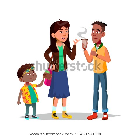 Character Little Boy Stealing Woman Money Vector Stock photo © pikepicture