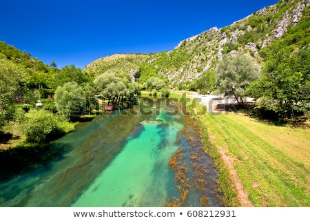 Knin fortress and Krka river aerial view Stock photo © xbrchx