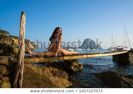 Meisje pier zonsondergang Open armen vrouw Stockfoto © lunamarina