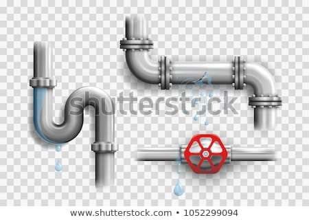Leaking water pipes. Broken steel pipeline with leakage. Vector Stock photo © Andrei_