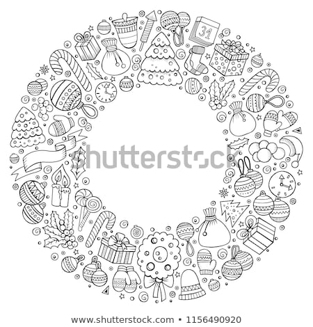 set of new year cartoon doodle objects round composition stock photo © balabolka