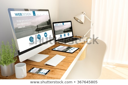 háló · designer · okostelefon · laptop · iroda · app - stock fotó © dolgachov