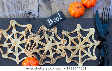 Halloween kreatív csemege szellem palacsinták étel Stock fotó © furmanphoto
