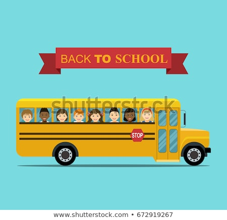 School bus funny cartoon Vector. Happy smilling back to school concepts Stock photo © frimufilms