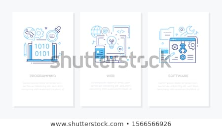 digital technology   line design style icons set stock photo © decorwithme