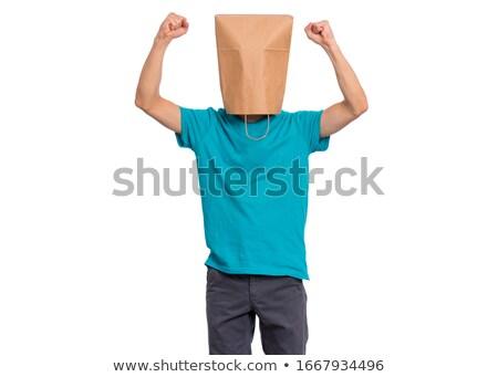 Udany anonimowy człowiek głowie pokryty broni Zdjęcia stock © lichtmeister
