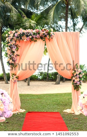 Stockfoto: Boog · huwelijksceremonie · ingericht · doek · bloemen · textuur