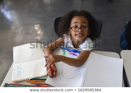 Ansicht · Schulkinder · Studium · Schreibtisch · Klassenzimmer - stock foto © wavebreak_media