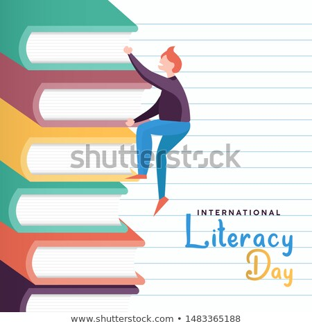 Literacy Day concept of kid climbing book mountain Stock photo © cienpies