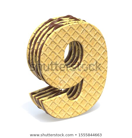 Waffles font with chocolate cream filling Number 9 NINE 3D Stock photo © djmilic