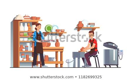 Kézzel készített agyag edény asztal cserépedények hobbi Stock fotó © robuart