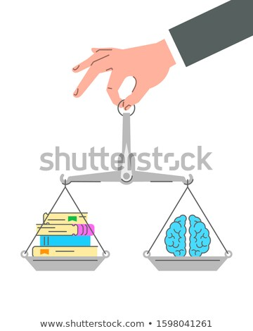 Balance scales with paper books and brain Stock photo © vectorikart