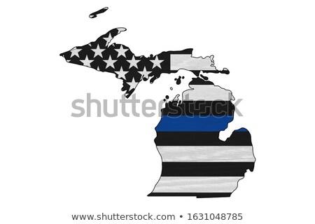 Michigan policji wsparcia banderą ilustracja Zdjęcia stock © enterlinedesign