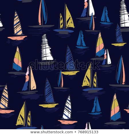Surfing adventure seamless pattern with surfboard and waves scene labels badges. Good California Vib Stock photo © JeksonGraphics