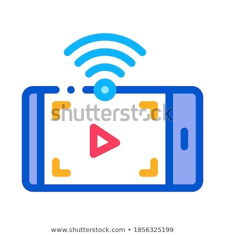 Guardare video wifi icona vettore contorno Foto d'archivio © pikepicture
