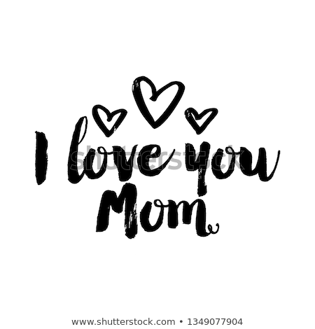 I Love You Mom. Happy Mother's Day Greeting Card Design with Tulip Flower and Red Heart on Spring Ba Stock photo © articular