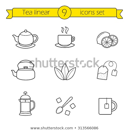 cup of tea with lemon slice icon vector outline illustration Stock photo © pikepicture