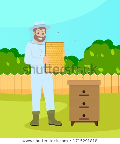 Beekeeper wearing protection suit hold a honeycombs standing at bee-garden at summer, cartoon style Stock photo © robuart