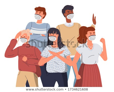 Woman in respiratory mask call to fight with virus spreading, lockdown sign at black background Stock photo © robuart