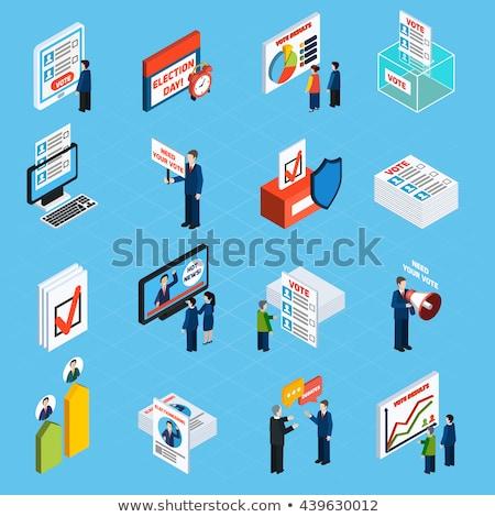 Kandydat mowy izometryczny ikona wektora podpisania Zdjęcia stock © pikepicture