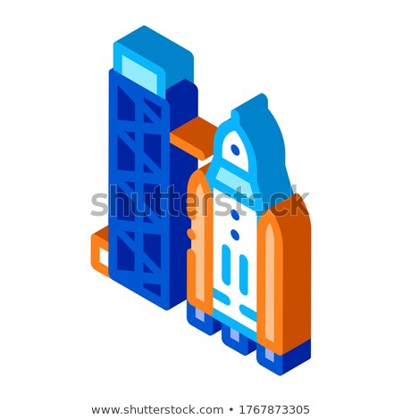 Tower With Space Ship isometric icon vector illustration Stock photo © pikepicture