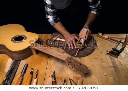 Klasik gitar el yapımı üst ahşap siyah Stok fotoğraf © beemanja